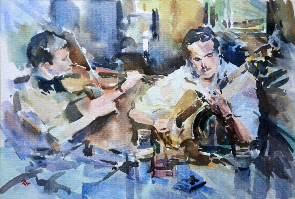 Watercolour technique: Pub Musicians