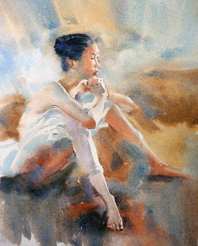 watercolour technique of Liu Yi