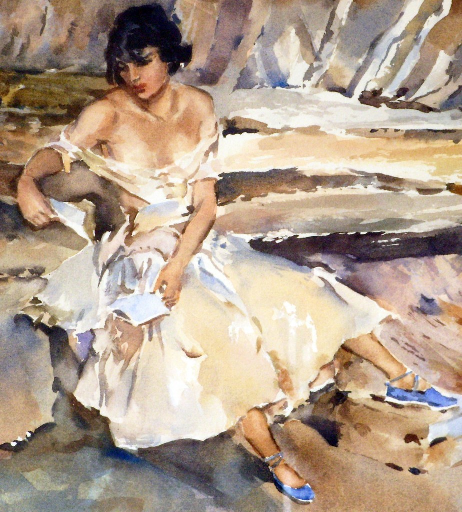 Detail showing watercolour technique of Sir William Russell Flint